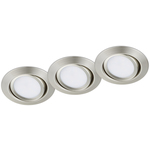 Super-REA! Trio LED-downlightserie Rila Ø82x34mm borstad stål 3st IP20
